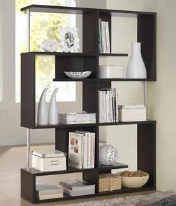 Brown-Bookcase-Shelves-Room-Divider-Modern-Contemporary-Open-Display