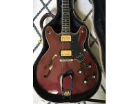 Hagstrom Viking with Bareknuckle pickups and hard case.