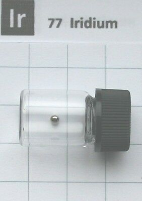 0.24 gram 99.98% solid Iridium metal pellet in glass vial element 77 sample