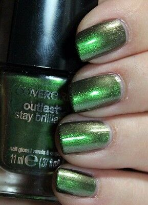 CoverGirl Outlast Stay Brilliant Nail Gloss Polish EMERALD BLAZE Green Metallic - Emerald Green Metallic