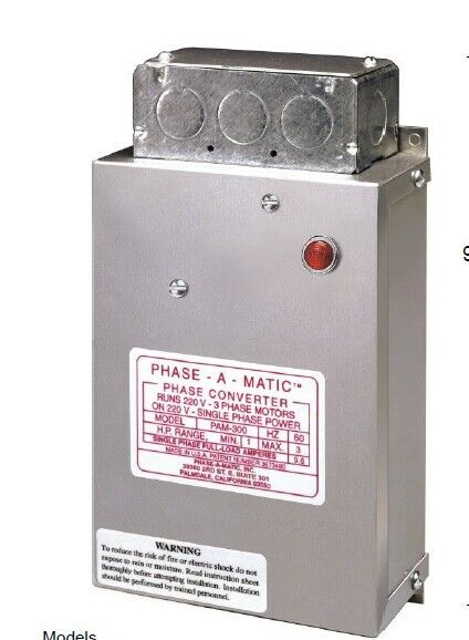 PHASE-A-MATIC modle PAM-1200HD Phase Converter,Static,8-12 HP