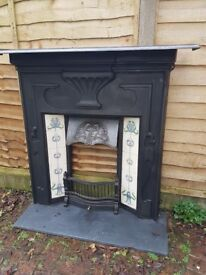 Cast Iron Fireplace with inset tiles