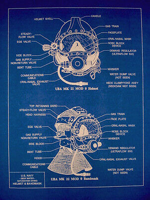 "Vintage USN Divers Deep Sea Mask Blueprint Plan Drawing 14""x18"" (299)"