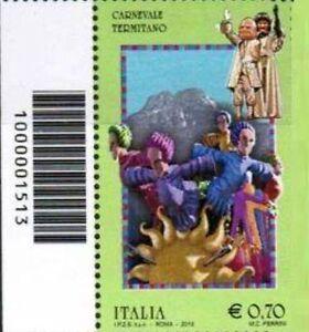 1513 CODICE A BARRE LATO SINISTRO CARNEVALE TERMITANO 0,70 ANNO 2013 - Italia - 1513 CODICE A BARRE LATO SINISTRO CARNEVALE TERMITANO 0,70 ANNO 2013 - Italia