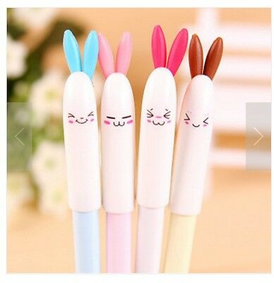 Lot 4 Cute Kawaii Rabbit Black Gel Ink Pens Pen Office Supply Face Expressions