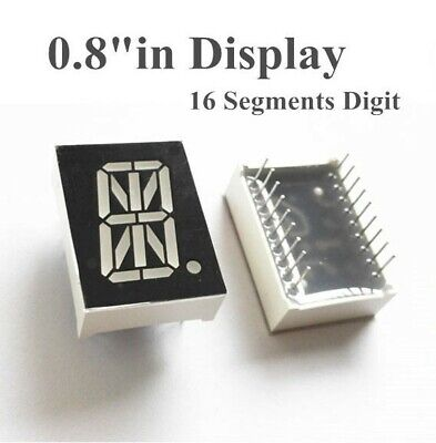 6 Pack - 16 Segment Red Led Display 0.8 1 Character 18pin Common Anode