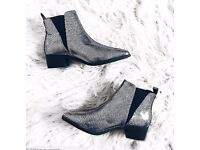 -% ATMOSPHERE PRIMARK Silver Mock Crock Pointed Toe Chelsea Boots HOT UK 7