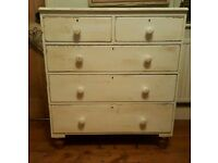 Large Painted Victorian chest of drawers (free local delivery)