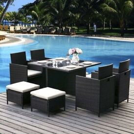 Black Rattan Table Brand New (no chairs)