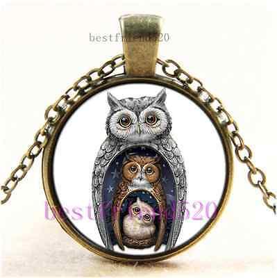 Vintage Owl Family Photo Cabochon Glass Bronze Chain Pendant Necklace - Owl Photo
