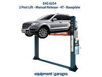 Brand New 2 Post Lift - Manual Release - 4T - Baseplate - 1ph/3ph - E4G 6254