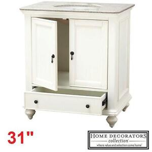 "NEW* HDC NEWPORT 31"" VANITY COMBO - 118085719 - HOME DECORATORS COLLECTION WHITE CABINET CHAMPAGNE GRANITE TOP BATHRO..."