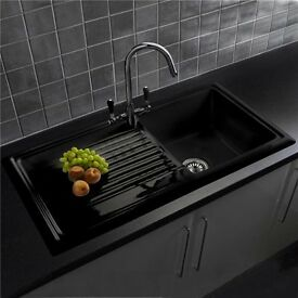 New Reginox 1.0 Bowl Gloss Black Ceramic Kitchen Sink - Fully Reversible