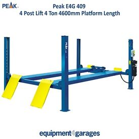 Brand New 4 Post Lift Ramp 4 Ton Capacity with 4600mm Platforms 1ph/3ph E4G 409