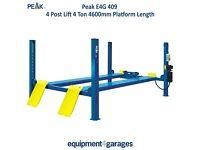 Brand New 4 Post Lift Ramp 4 Ton Capacity with 4600mm Platforms 1ph/3ph E4G 409