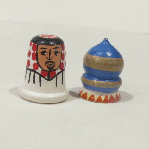Vintage Russian Wooden Dome Building Thimble Hand Painted + man thimble