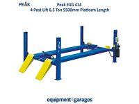 Brand New 4 Post Lift - 6.5 Ton Capacity with 5500mm Platforms. 1ph/3ph E4G 414