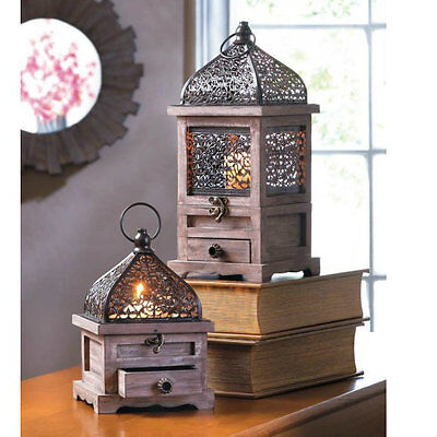 Set of 2 Flip-Top Wood Candle Lanterns with Drawers
