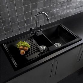 New Reginox 1.5 Bowl Black Ceramic Kitchen Sink with Waste & Fittings