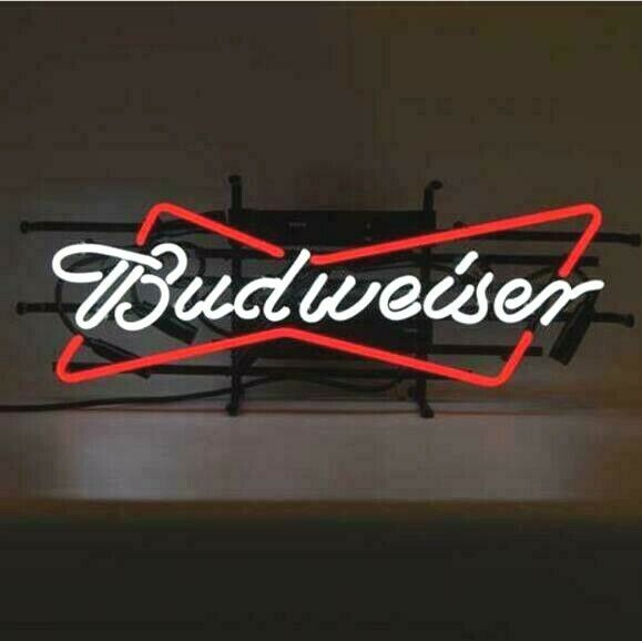 New Budweiser Bowtie Bow Tie Real Glass Neon Sign Beer Bar L