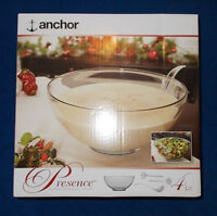 Anchor 7qt Glass Bowl + Fork, Spoon and Ladle
