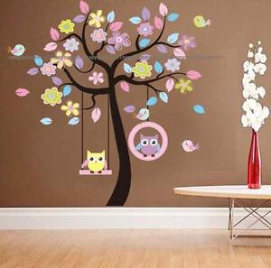 Animal owl bird on swing tree flower floral wall stickers for Bird and owl tree wall mural set