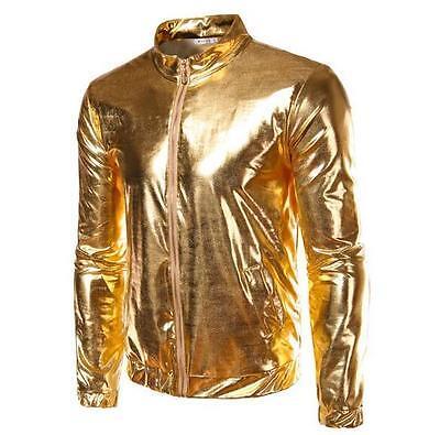 - Men's Nightclub Metal Color Slim Casual Outwear Stand Collar Zipper Jacket Coat