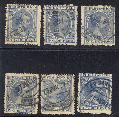 Puerto Rico, 1890's, six stamps with postmarks with FULL DATE Date Postage Stamps