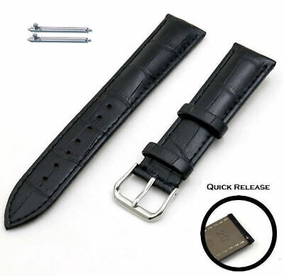 Black Croco Quick Release Leather Replacement Watch Band Strap Steel Buckle -