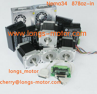 4axis Nema34 Stepper Motor With 878oz-in Driver Dm860a Cnc Router Longsmotor
