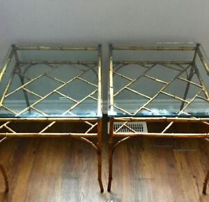 Gilded gold faux bamboo Chinese Chippendale side tables