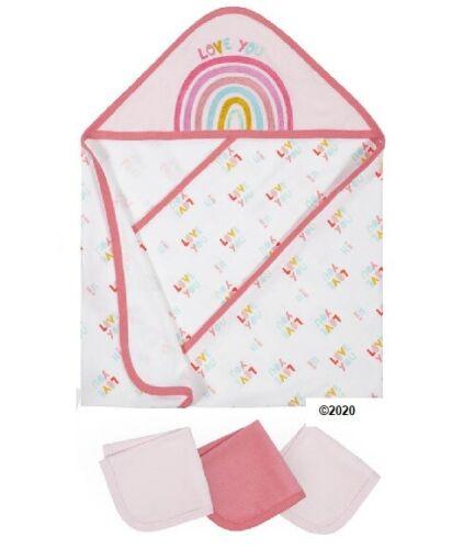 Gerber Baby Girl 4-Piece Rainbow Hooded Towel & Washcloth Terry Bath Set