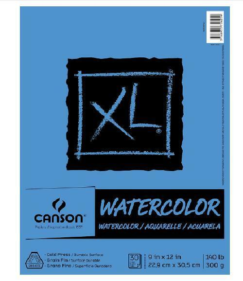 """XL Series Watercolor Pad, 9"""" x 12"""", Fold-Over Cover, Textured Paper 30 Sheets"""