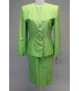 NWT VINTAGE CHRISTIAN DIOR Bright Green Silk Blazer Dress Suit Sz 10 $490