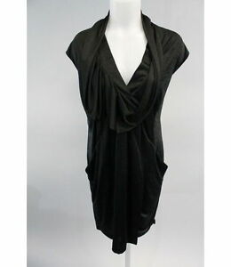 BCBG MAX AZRIA RUNWAY Black Cap Sleeve V-Neck Draped Dress