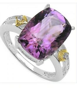 Ring 6.5kt Amethyst and Topaz two toned white gold rhodium ring