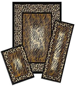 safari LEOPARD Animal Print border exotic 3 Piece COMBO RUNNER Mat Area Rug Set