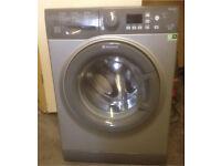 Silver Hotpoint 9kg,1400 spin washing machine. Model WMFUG942