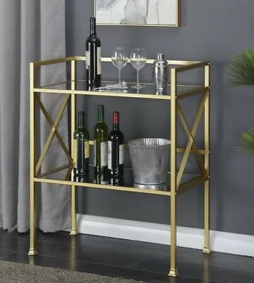 Gold Mini Bar Serving Table Console Mirrored 2 Tier Buffet Glam Contemporary (Tier Serving Table)