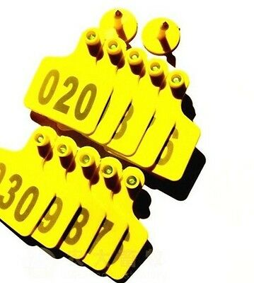 50sets New Yellow 5040mm Sheep Goat Hog Beef Cow Ear Tag Lable With Number