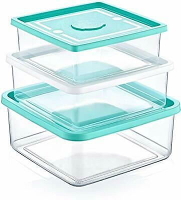 3 Square Food Storage Containers/box Set (750/1000/1500 mL), BPA FREE Square Food Storage Set