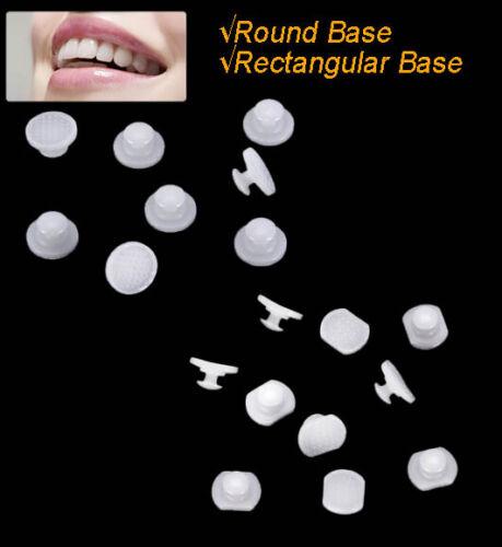 Dental Orthodontic Ceramic Lingual Buttons Bondable Round/rectangular Base