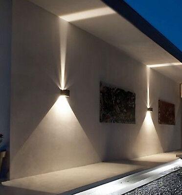 Schwarz Leder Cube (MCE Cube Würfel LED Wand Leuchte Lampe Up Down für außen/innen wasserdicht IP65)