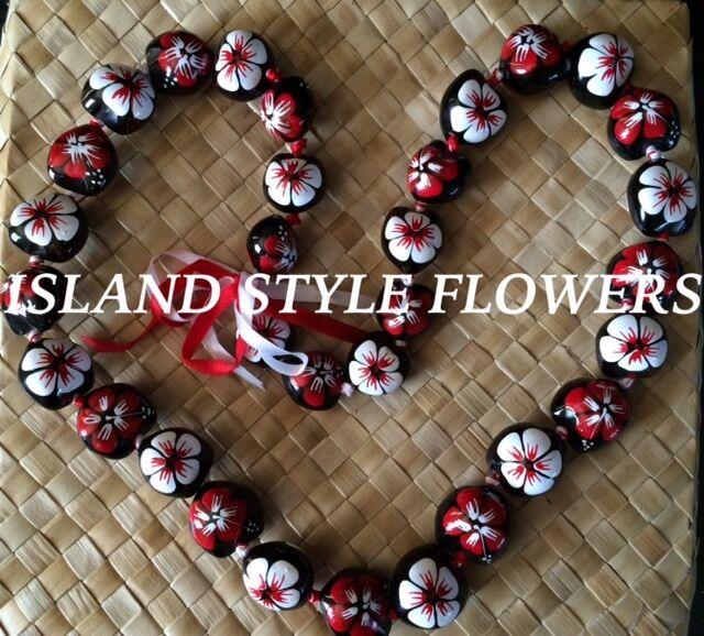 Hawaii Wedding RED WHITE Kukui Nut Lei Graduation Luau Hula Necklace Hibiscus