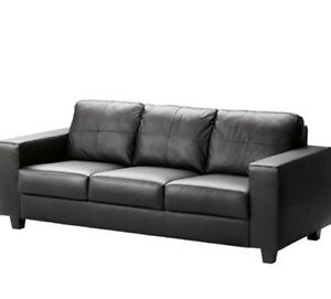 IKEA Skogaby black genuine leather sofa couch