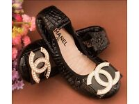 Chanel look black shinny real leather very comfortable ballerina zirconia logo flat shoes size 38