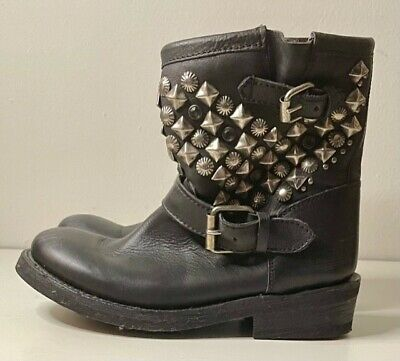 $425 Ash Womens Black Leather Distressed Studded Ankle Boots NIB size 8