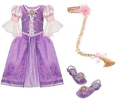 Disney Store Tangled RAPUNZEL Dress L 10 Shoes Braid Wig Halloween Costume