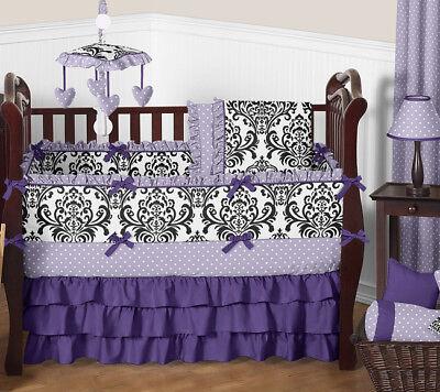 (Luxury Purple Lavender Black White Damask Polka Dot Baby Girls Crib Bedding Set)