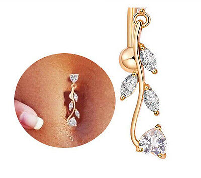 New Rhinestone Dangle Crystal Navel Belly Button Bar Barbell Body Piercing Rings